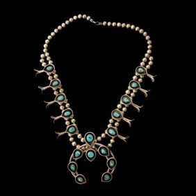 TURQUOISE, SILVER SQUASH BLOSSOM NECKLACE.