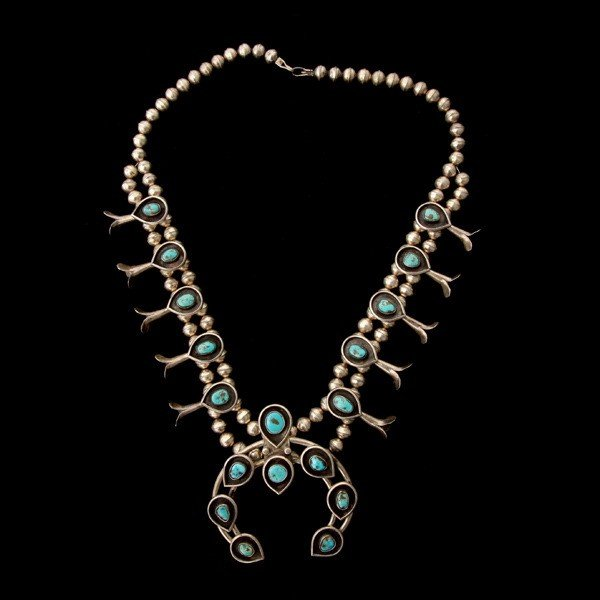 15: TURQUOISE, SILVER SQUASH BLOSSOM NECKLACE.
