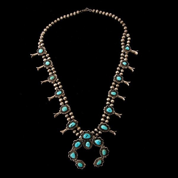 2: TURQUOISE, SILVER SQUASH BLOSSOM NECKLACE.