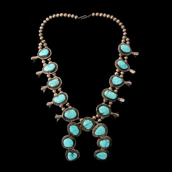 3: TURQUOISE, SILVER SQUASH BLOSSOM NECKLACE.