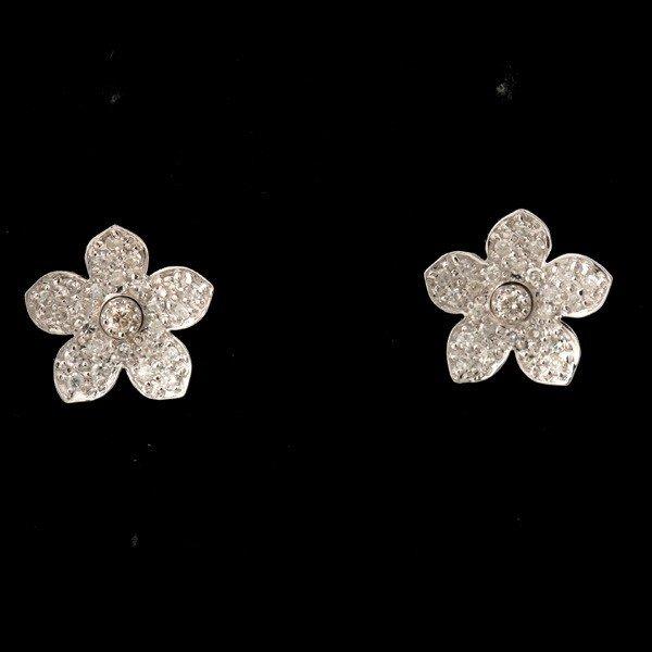 8: DIAMOND, 14K WHITE GOLD FLOWER EARRINGS.