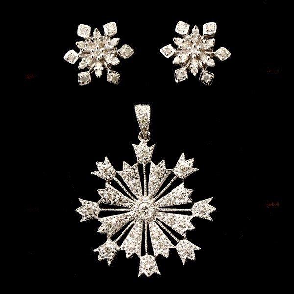 17: DIAMOND, PLATINUM, SNOW FLAKE JEWELRY.