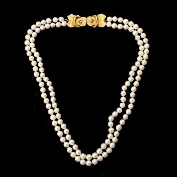75: CULTURED PEARL,14K Y/G, TURQUOISE NECKLACE.