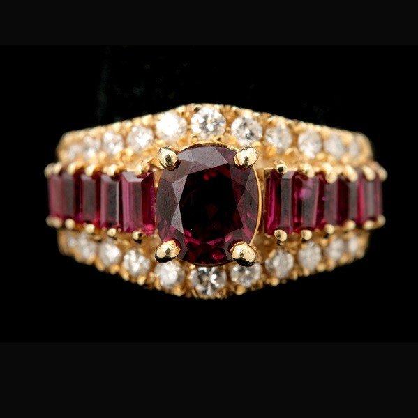 79: RUBY, DIAMOND, 14K YELLOW GOLD RING.