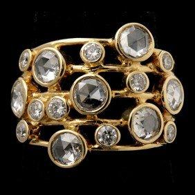 IPPOLITA DIAMOND, 18K YELLOW GOLD RING.