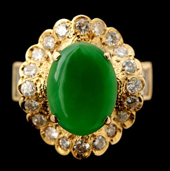 130: JADE, DIAMOND, 14K YELLOW GOLD RING.