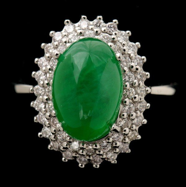 134: JADE, DIAMOND, 14K WHITE GOLD RING.