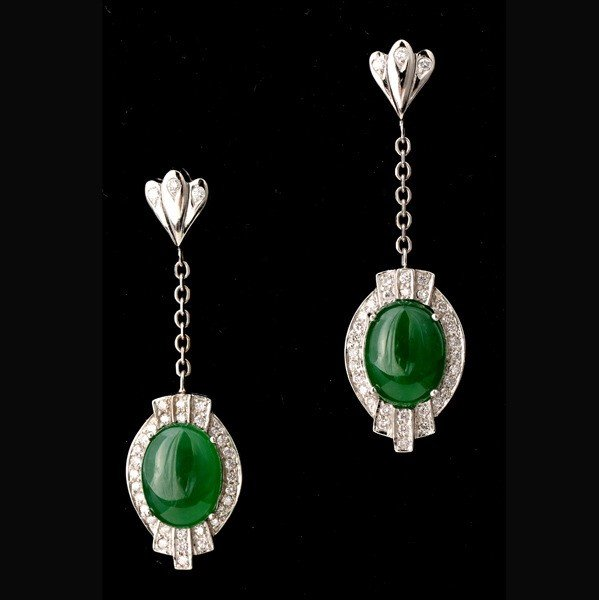 136: PAIR OF JADE, DIAMOND, 14K WHITE GOLD EARRINGS.