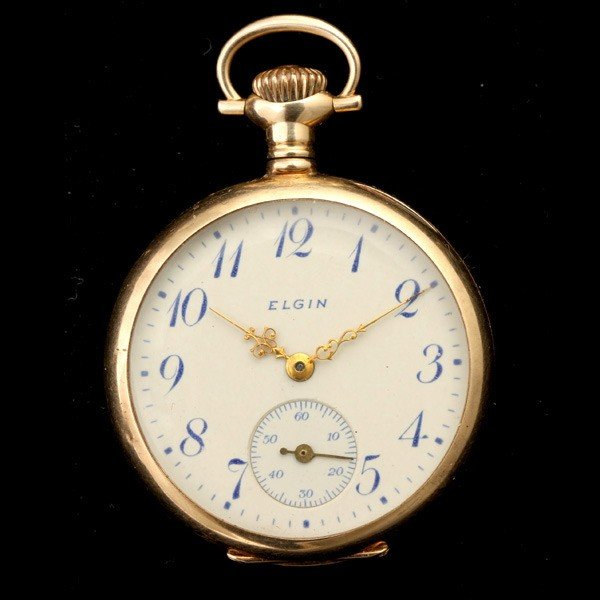 142: ELGIN 14K YELLOW GOLD OPEN FACE POCKET WATCH.