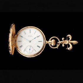 AW CO. DIAMOND, 14K Y/G HUNTING CASE POCKET WATCH.