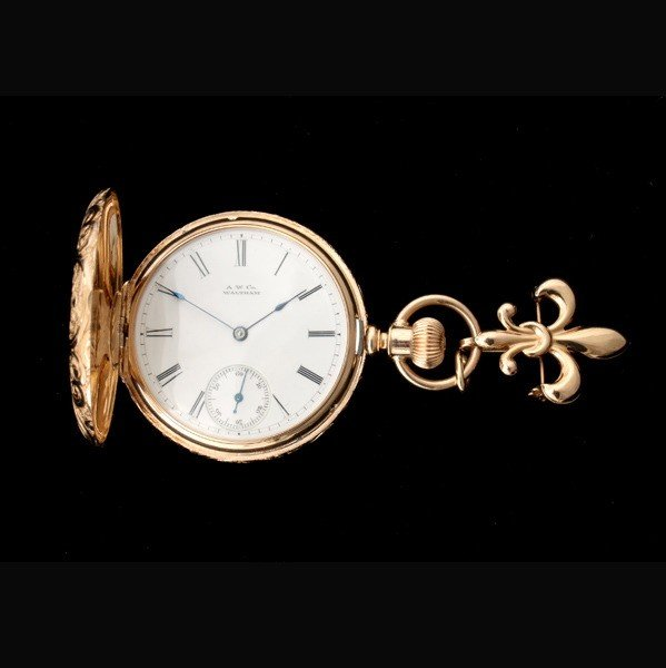 143: AW CO. DIAMOND, 14K Y/G HUNTING CASE POCKET WATCH.