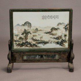 A Enamel-Decorated Porcelain Plaque