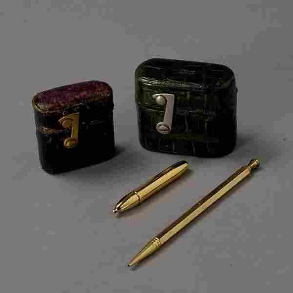 2 English Leather cased Travel Inkwells & 2 pens
