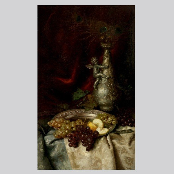 4: Continental Sch 19th c Still Life with Grapes, oil