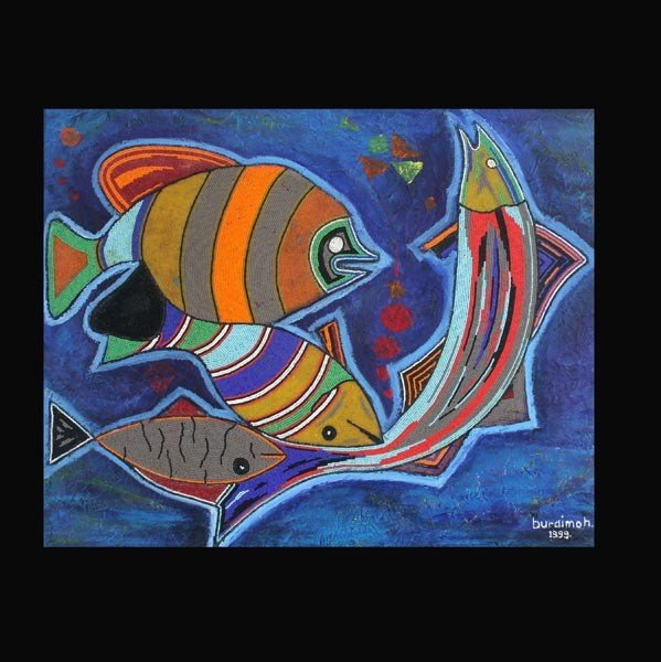 "14: Jimoh Buraimo ""Fishes in the Ocean"" Acrylic"