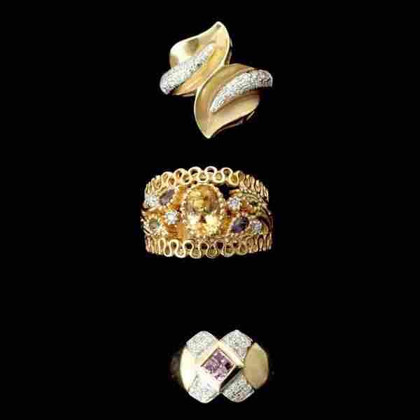 3 MULTI-STONE, DIAMOND, 14K YELLOW GOLD RINGS.