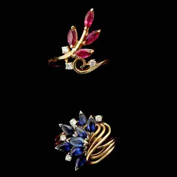 62: 2 RUBY, SAPPHIRE, DIAMOND, 14K YELLOW GOLD RINGS.