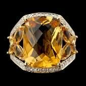 82 CITRINE DIAMOND 14K YELLOW GOLD RING