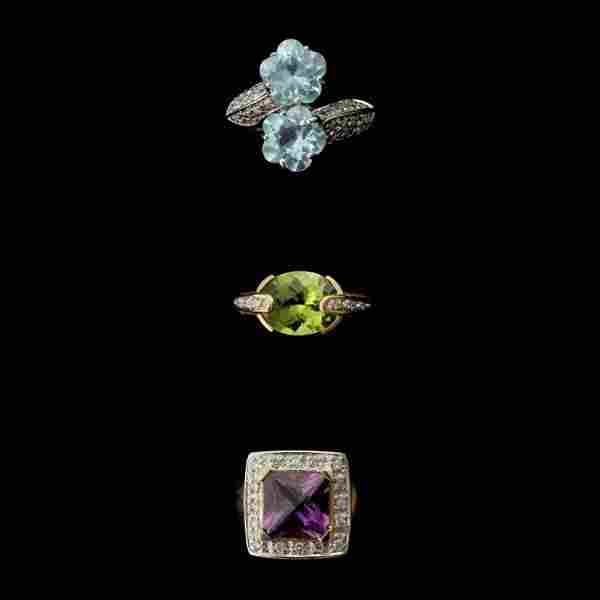 3 MULTI-STONE, DIA., 14K Y & W GOLD RINGS.