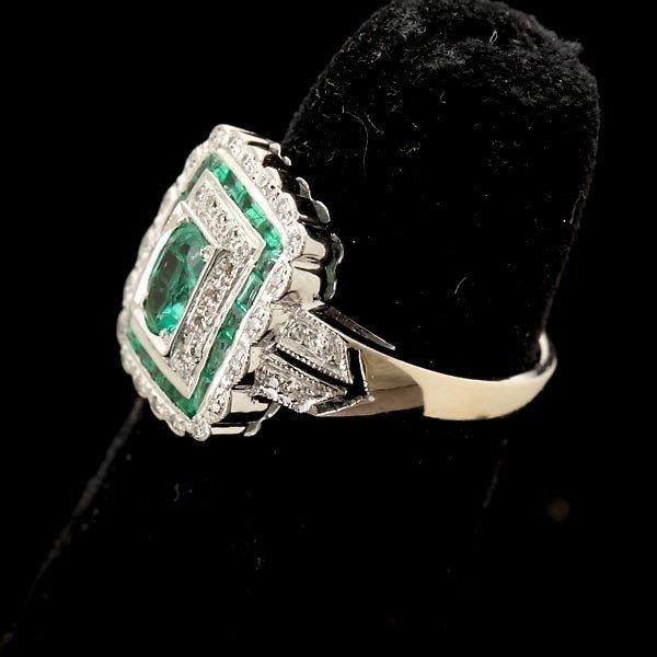 121: EMERALD, DIAMOND, 14K WHITE GOLD RING. - 2