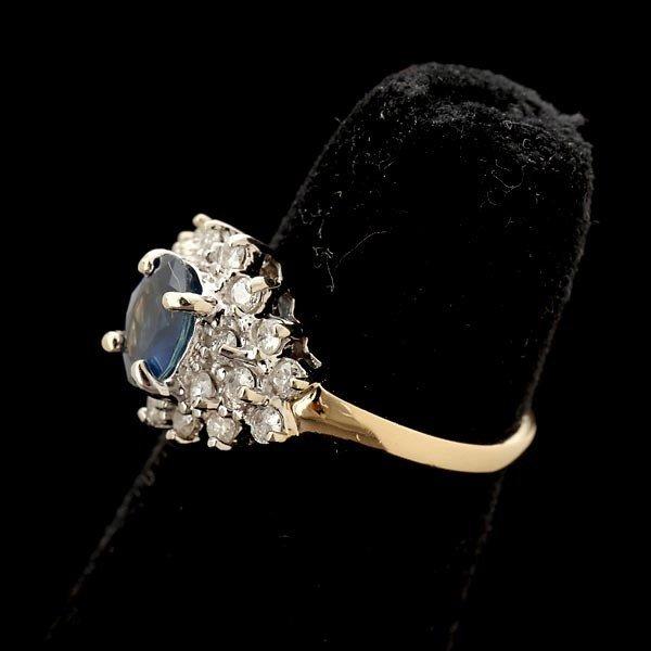 137: SAPPHIRE, DIAMOND, 14K WHITE GOLD RING. - 2