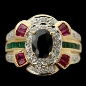 141 SAPPHIRE RUBY EMERALD DIAMOND 18K YG RING