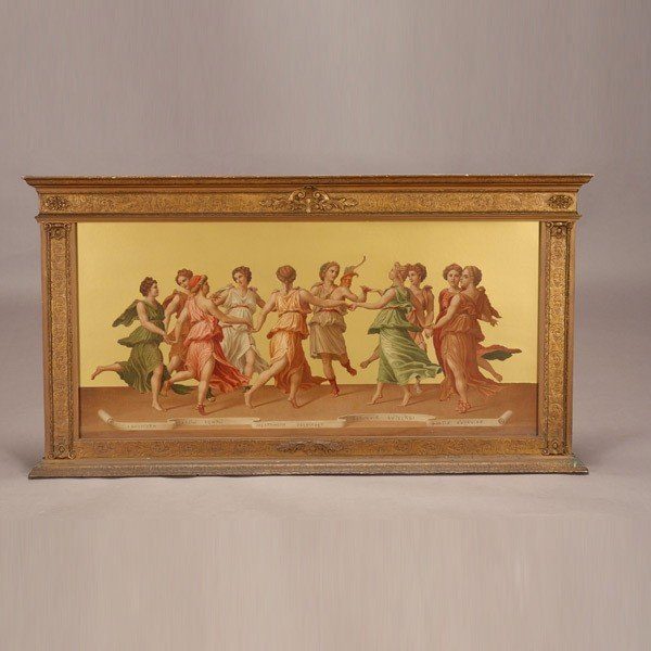 659: Framed Chromolithograph of Nine Muses and Apollo