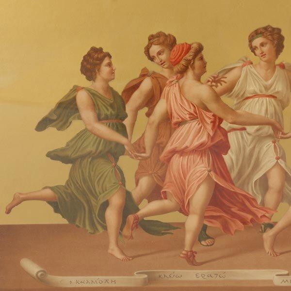 659: Framed Chromolithograph of Nine Muses and Apollo - 2