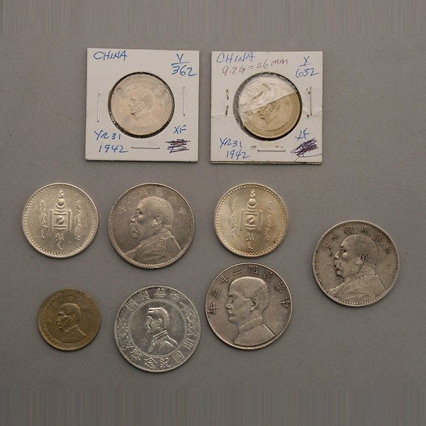 1234: Lot of Nine Chinese and Mongolian Silver Coins.
