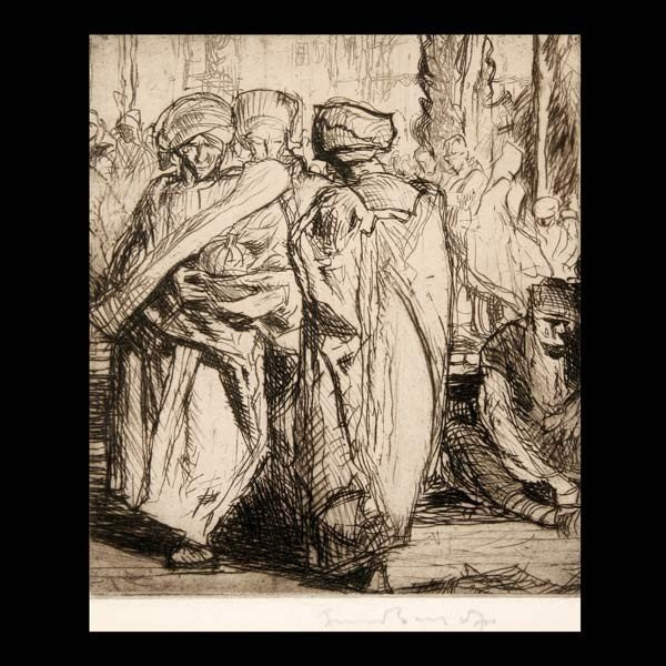 """20: FRANK BRANGWYN  """"At the Marketplace""""  Etching."""
