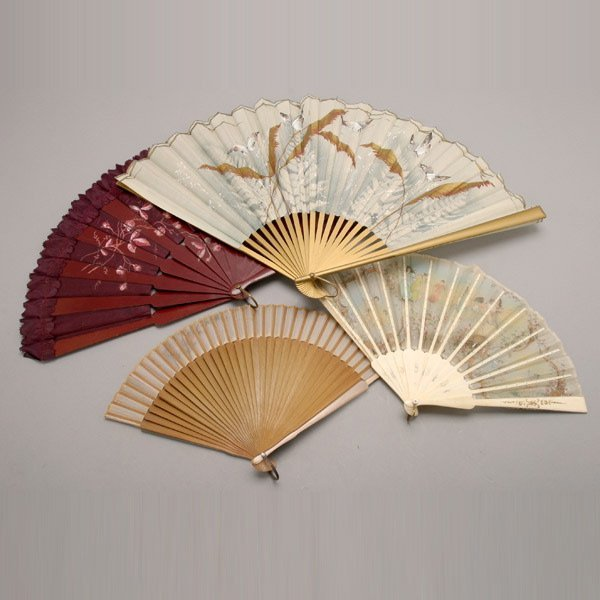 1005: Group of Four Vintage Hand Painted Silk Fans