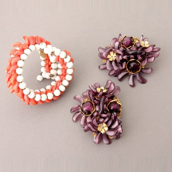 1020: Two Miriam Haskell Purple Brooches, and Bracelet
