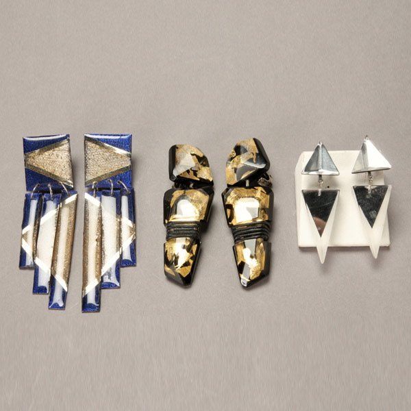 1027: Three Pairs of Contemporary Craft Lucite Earrings