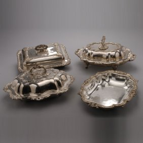 Three Sheffield Plate Lidded Servers And A Dish