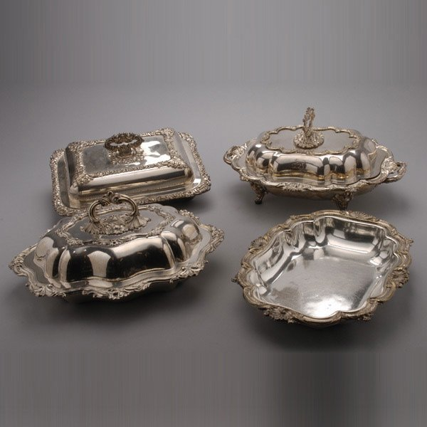 1045: Three Sheffield Plate Lidded Servers and a Dish