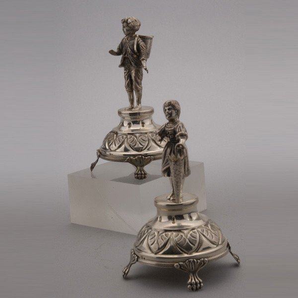 1047: Pair Continental Silver Figural Toothpick Holders