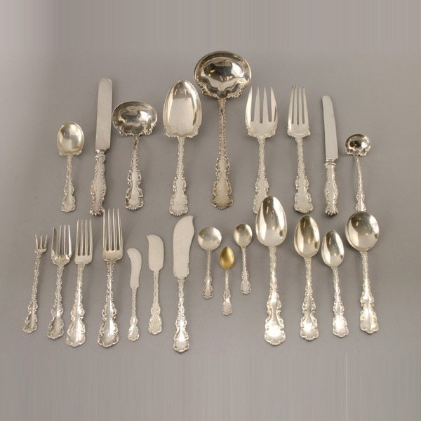 1049: 178 pc Whiting Louis XV Sterling Flatware for 12