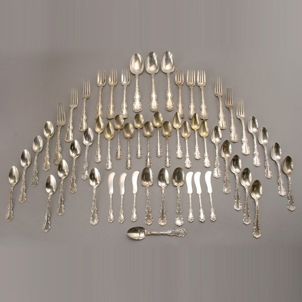 1050: 55 pieces Whiting Louis XV Sterling Flatware