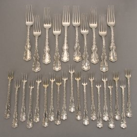 21 Pieces Of Whiting Louis XV Sterling Flatware
