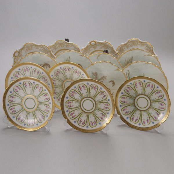 1068: Three Groups of Fine Gilt Edge Porcelain Plates