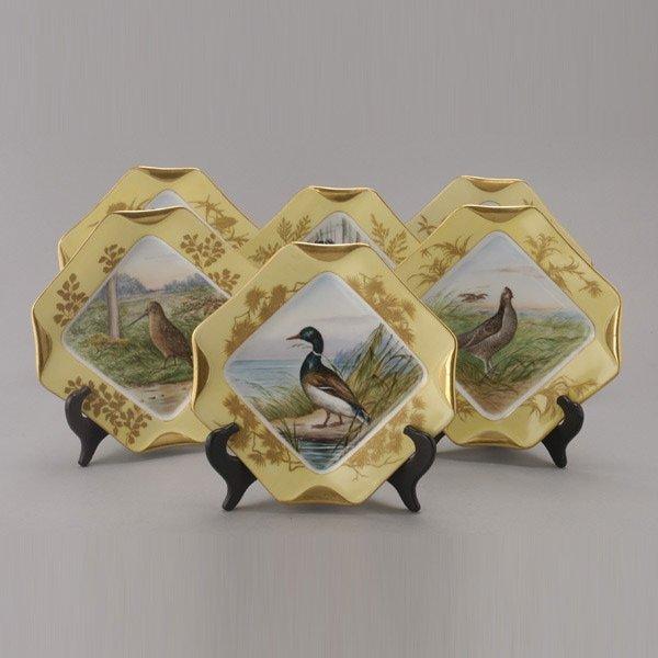1070: Set of Six Limoges Handpainted Bird Plates