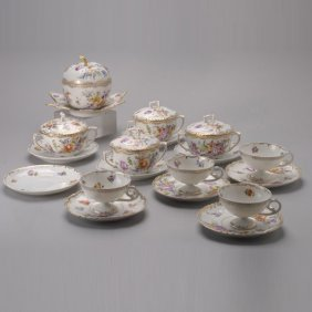 Group Of Hand Painted Floral Dresden Items