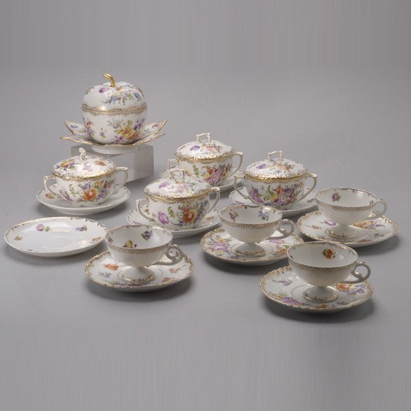 1072: Group of Hand Painted Floral Dresden Items