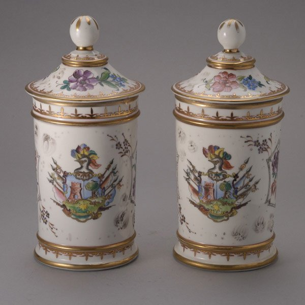 1073: Pair of Painted Porcelain Apothecary Jars