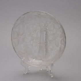 Libbey Etched Poppy Glass Bowl, Signed