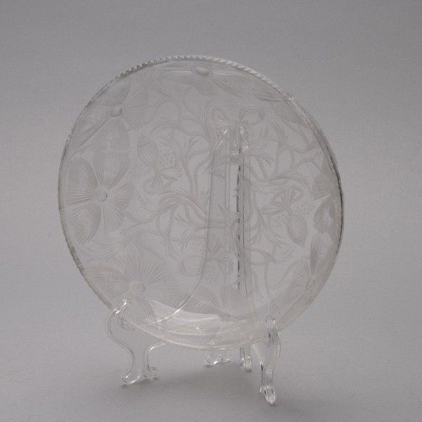 1077: Libbey Etched Poppy Glass Bowl, Signed
