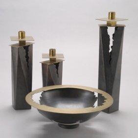 Markusen Contemporary Craft Copper Bowl & Candles
