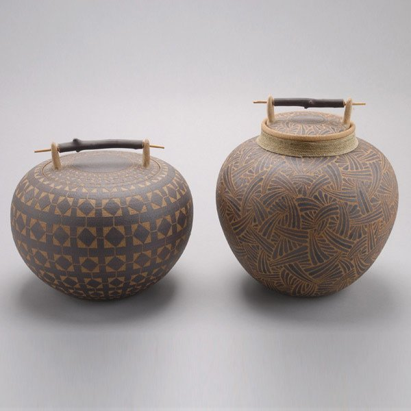 1085: Two Larry Richmond Hoopa Inspired Ceramic Jars