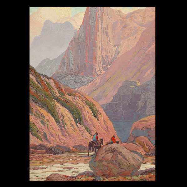 """1109: Fred Sayre """"Riders through the pass"""" Serigraph"""