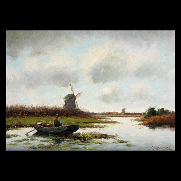 "1125: J H Wolhoff ""Fishing in Row Boat"" Oil"